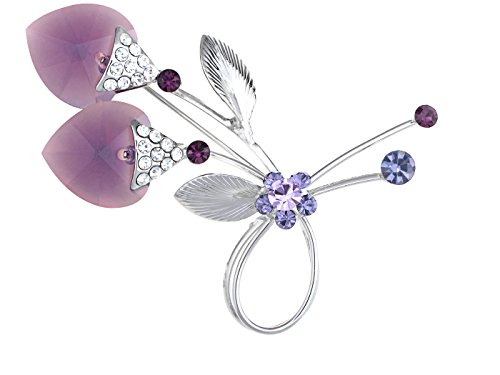 Alilang Elegant Floral Amethyst Purple Crystal Big Heart Flower Wedding Prom Corsage Brooch Pin