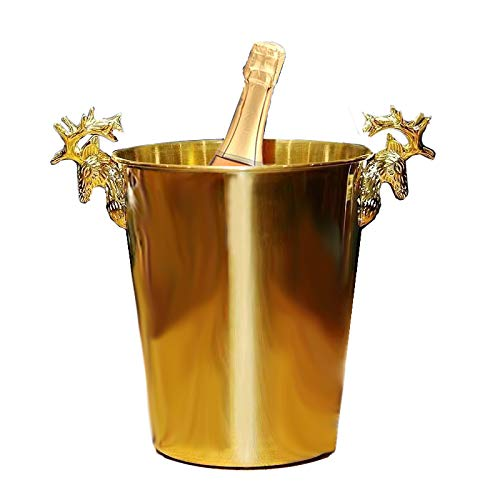 Golden Reindeer Head Stainless Steel Ice Bucket 5L for Parties/for Wine, Cocktail and Garden Drinks Cooler