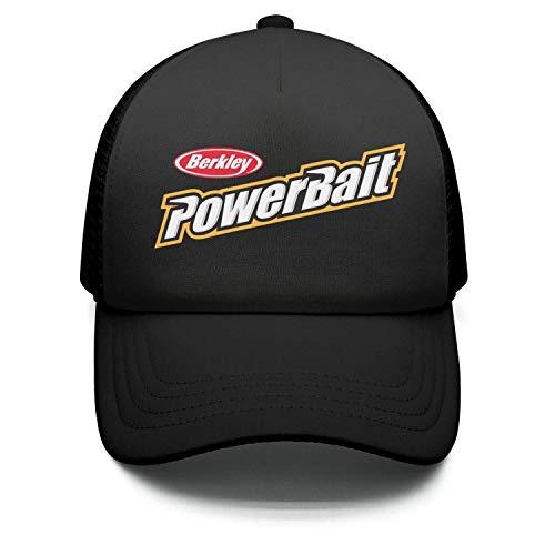 l Breathable Adjustable Mesh Black Unisex Berkley-Powerbait-Fishing-Logo-Snapback Hats Cap ()
