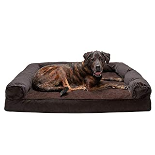 Furhaven Pet Dog Bed - Memory Foam Faux Fleece & Chenille Traditional Sofa-Style Living Room Couch Pet Bed w/ Removable Cover for Dogs & Cats, Coffee, Jumbo Plus
