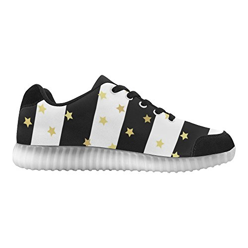 InterestPrint Gold glittering stars Light Up Shoes Flashing Sneakers Casual Flat Shoes for Women hSIdwD