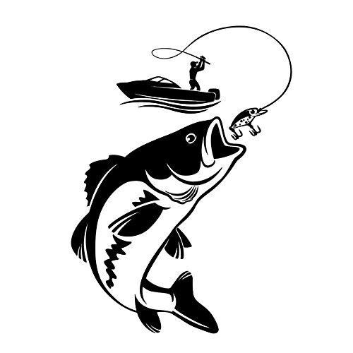BleuMoo 2Pcs Vinyl Wall Decal Fishing Fisherman Hobby Car Stickers