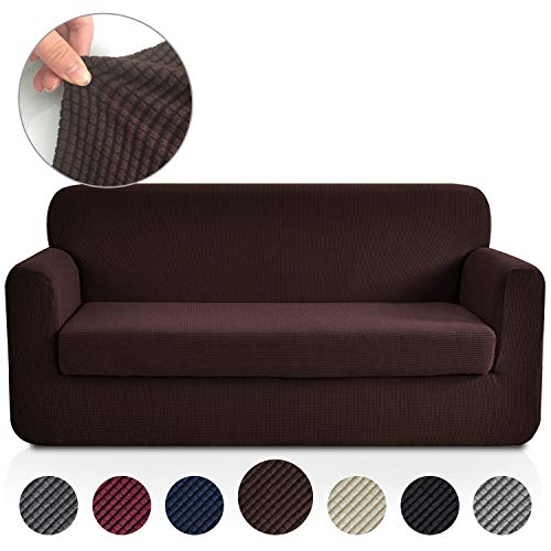 (Rose Home Fashion Jacquard Stretch 2 Separate Pieces Sofa Cover, Sofa Slipcover with Separate Cushion Cover Couch-Polyester Spandex Sofa Slipcover&Couch Cover for Dogs(Sofa: Chocolate))