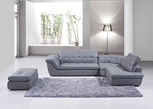Italian Leather Ottoman (J and M Furniture 175442912-OTT 397 Italian Leather Ottoman in Grey)