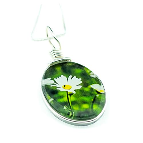 "Flower Necklace, Handmade Glass Daisy Pendant on 18"" Sterling Silver Chain, Jewelry for Women"