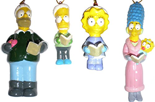 Click for larger image of 4-Piece Porcelain Boxed Set 'The Simpsons' Family Christmas Ornaments