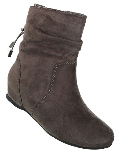 Damen Schuhe Stiefeletten Keil Wedges Used Optik Boots Khaki