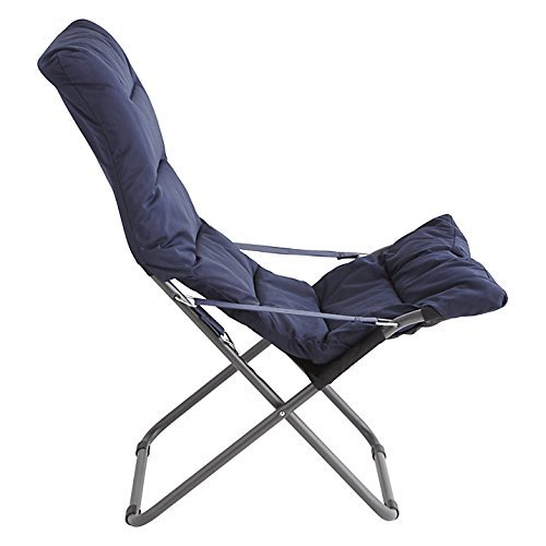 Structure en Acier Couleur Argent matelass/és Bleu fonc/é Art 127S ALBL fiam Soft Chaise Longue