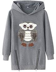 Big Girls Hoodies Cute Owl Pullover Warm Fleece Hooded for Girls
