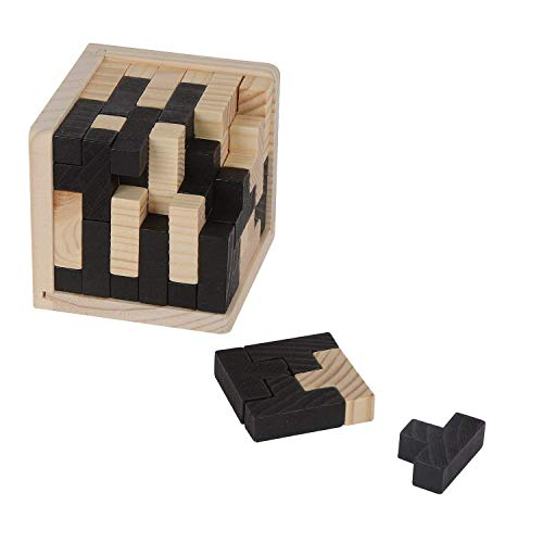 Ahyuan Handmade 3D Wooden Brain Teaser Cube 54 T-Shaped Tetris Blocks Geometric Intellectual Jigsaw Logic Puzzle Educational Toy for Kids and Adults