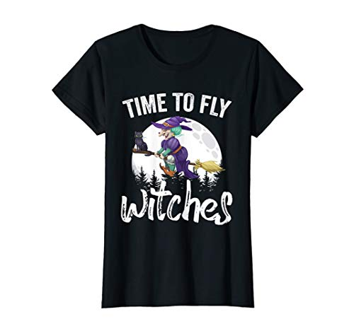 Womens Time To Fly Witches Adult Humor Witch Halloween Costume T-Shirt