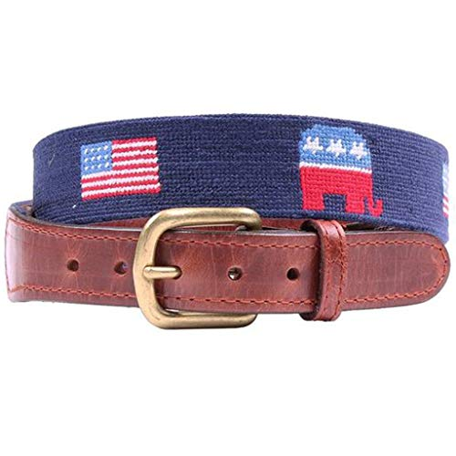 Republican Elephant and American Flags Needlepoint Belt in Midnight Navy by Smathers & - Needlepoint Flag