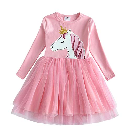 VIKITA Toddler Girl Long Sleeve Horse Dress Baby Girls Winter Birthday Dresses Great Gift (3T, LH4576)