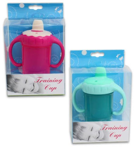 8oz Plastic Baby Training Cup Handles Pink Blue 36 pcs sku# 1780639MA