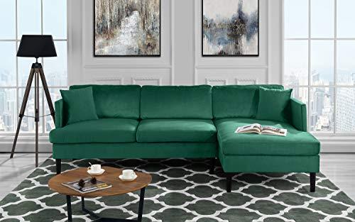 Mid Century Modern Velvet Sectional Sofa, L-Shape Couch (Green)