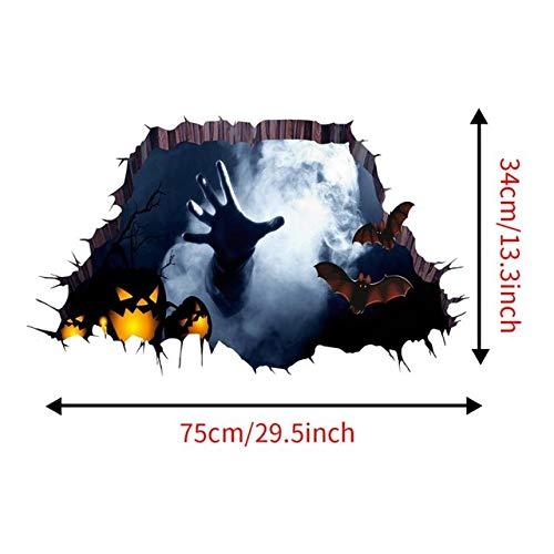 DAVITU US Warehouse - Horrific 3D Halloween Wall Sticker Room Decoration Floor Sticker Bedroom Decor Halloween Party Decoracion Habitacion 75cm34cm - (Color: A, Size: ONE Size) ()