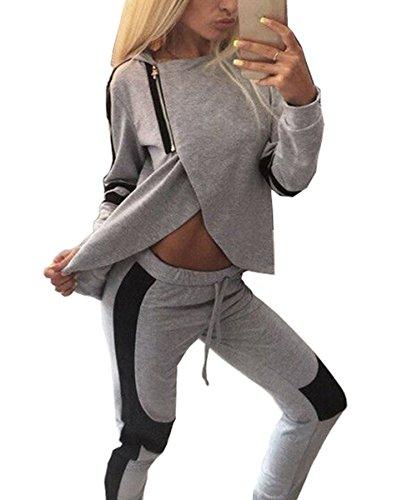 ZEARO Damen Fitness Pullover Hose Sportanzug Jogginganzug Hausanzug