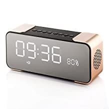 Tera Bluetooth 4.1 Portable Wireless Stereo Speaker with Alarm Clock, Built-in Mic FM Radio LED Light 5WX2 Drivers, freely contact with phone ipad TV Color Gold