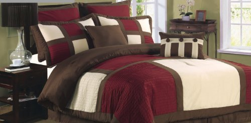 Elegance Linen 8-Piece LUXURY Bed-in-a-Bag Beautiful SQUARE DESIGN Comforter Set - QUEEN SIZE, (Square Bed In A Bag)