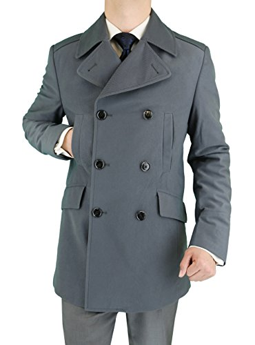 Double Breasted Worsted Wool Suit - LN LUCIANO NATAZZI Men's Stretch Wool Blend Trim Fit Pea Coat (44 US - 54 EU,Gray)