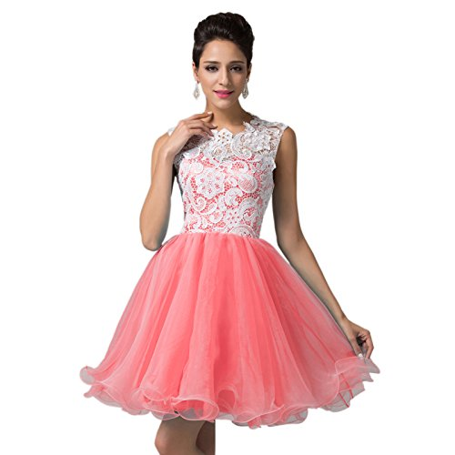 Lace Soft Tulle Short Prom Evening Dress for Juniors (10)