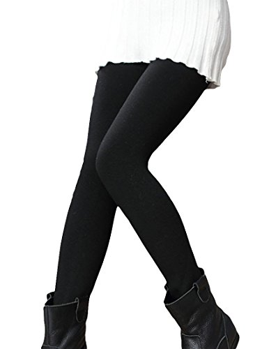 MFrannie Girls Fleece Stretch Toddler Winter Skinny Leggings Pants Black 5T by MFrannie
