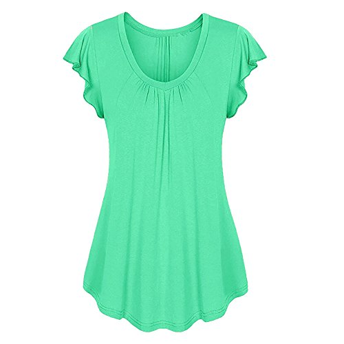 (Ruffled Ruched Tops,AgrinTol Women Solid Row Pleats O-Neck Short Sleeve Irregular T-Shirt Tops (XL, Green))