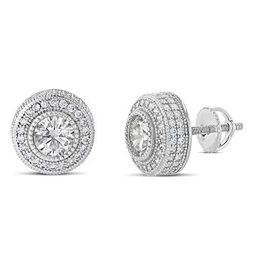 Earrings Studded Large Heart (Men Women Iced Out 18k Rhodium Finish Lab Diamond CZ Screw back Stud Earnings 10MM aretes para hombre - Men's Earrings, Screw Back, Men's Jewelry, Hip hop Earring)