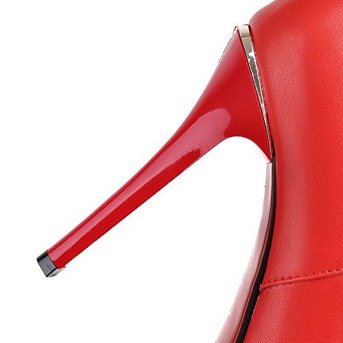 AllhqFashion Mujeres Cremallera Tacón Fino Caña Baja Sólido Puntera Redonda Botas con Metal Rojo