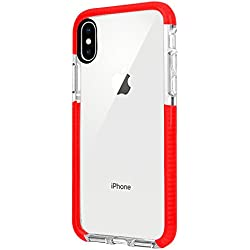 iPhone X Case, iPhone X Anti-scratch Clear Case, Soft TPU with Transparent Hard Plastic Protective Back Phone Cover, Thin Sleek Mobile Cover for iPhone X 2018, High-transparent Two-color case (Red)