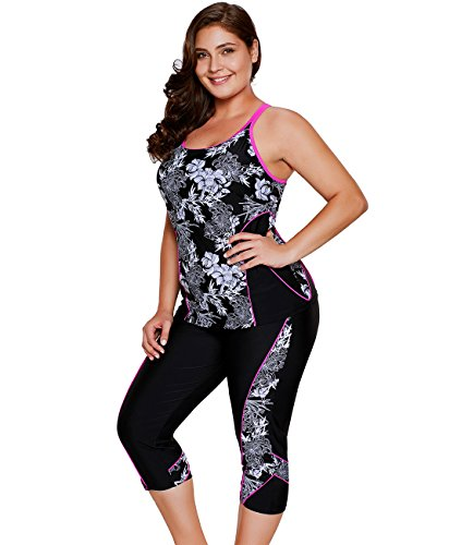 - Lalagen Women's Plus Size Rash Guard Capris Tankini Athletic Swimwear Floral L