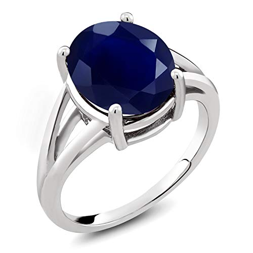 Gem Stone King 925 Sterling Silver Blue Sapphire Women's Ring 5.00 Cttw Oval Gemstone Birthstone (Size 5) (Cost Of Blue Sapphire Rings In Singapore)