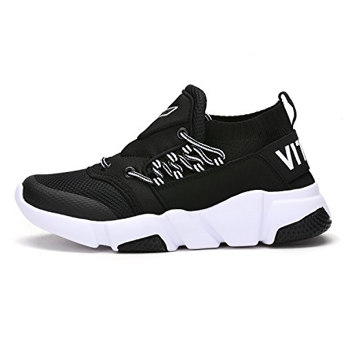 ASHION Athletic Girl's Boy Sneakers Shoes Casual 2 Vamp Trainers Running Gym Breathable black Fitness xxA5w0rq