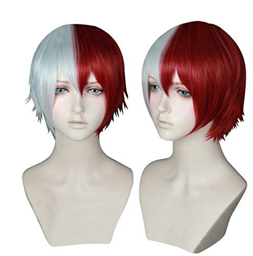 COSPLAZA Unisex Short White Red Mixed Hairs School Boy Teen Academia Anime Hero Style Cosplay Costume Wigs -