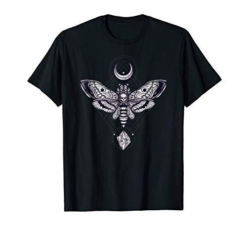 Crystal Moon and Death Moth Tshirt - Mystic Pagan Skeleton