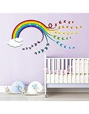 decalmile Muurstickers Regenboog Muurtattoo Wolken Kleurrijke Vlinders Wanddecoratie Baby Kinderkamer Kinderen Slaapkamer