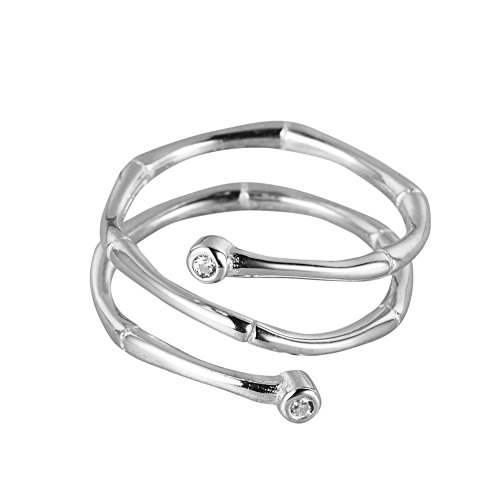 WRISTCHIE Womens Fashion Jewelry 925 Sterling Silver Bamboo Shape Wrap-around Adjustable Ring - Sterling Silver Wrap Ring