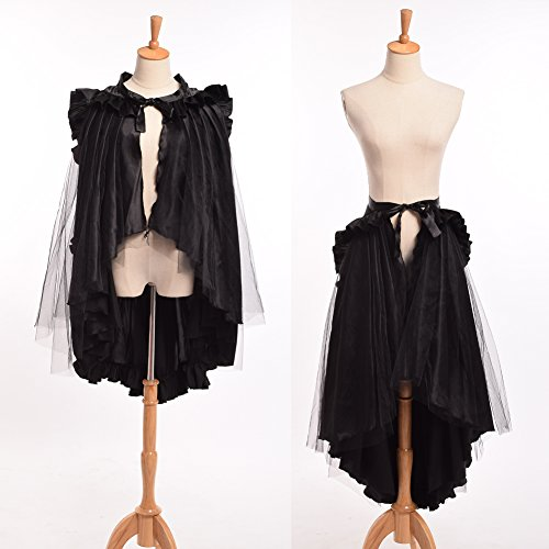 BLESSUME Punk Flounce Bustle Skirt Cape, Black, One size]()