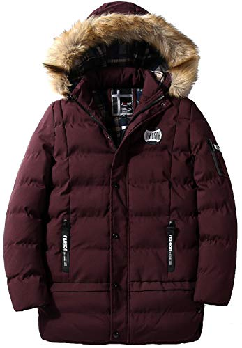 Warm Men's Red Detachable Thicken Parka New Classic Zipper Long Hooded Outdoor Winter Casual Fashion Sleeve Jacket FGYYG Coat 5FXqTww