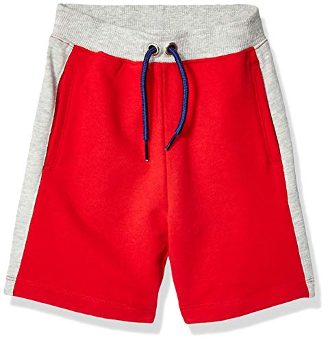 Spotted Zebra Boys' Colorblock French Terry Shorts, Red Large (10)