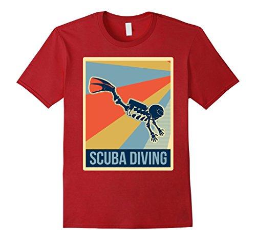 Scuba Diving Costume (Mens Retro scuba diving Flying skeleton halloween shirt Large Cranberry)