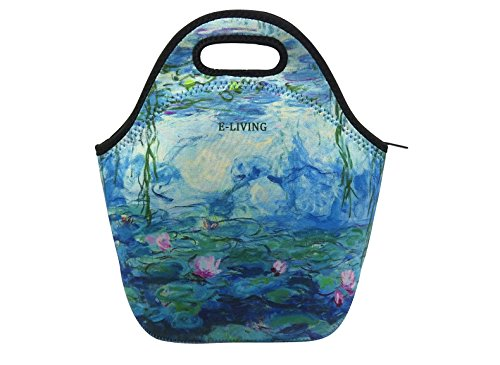Van Gogh Water Lilies - E-Living Neoprene Lunch Tote Bag - 4 Designs with Van Gogh/Monet Oil Painting Masterpieces (Almond Blossom/Starry Night/Water Lilies) (Water Lilies)