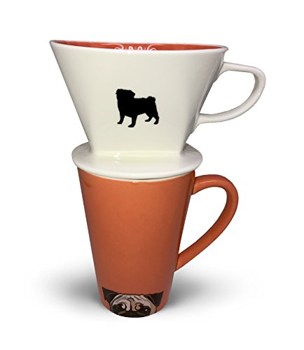 (Pug Coffee Pour Over and Ceramic Mug Set by Simply Charmed)