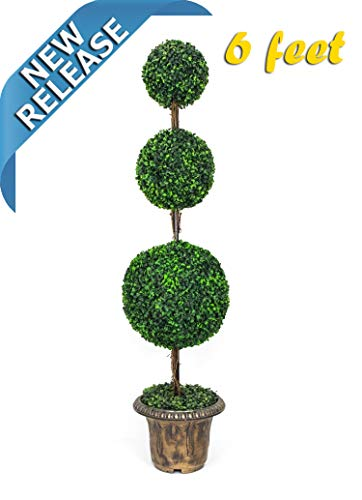 - AMERIQUE Gorgeous 6 Feet Dense Triple Ball Boxwood Topiary Artificial Tree Silk Plant with UV Protection Indoor and Outdoor, with Decorative Pot, Feel Real Technology, Super Quality, 6' Green