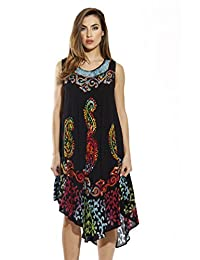 Riviera Sun Black Cover Up Dress with Colorful Batik Patterns for Women
