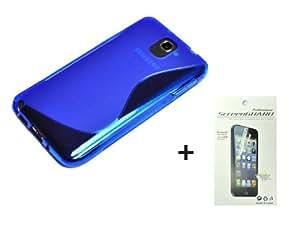 2en1 AZUL TPU gel Funda CARCASA + protector de pantalla para Samsung Galaxy Note III N900 N9005 N9000