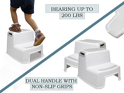 (2 Pack) Dual Height Step Stool for Toddlers & Kids, Nursery Step Stool Potty Training Stool for Bathroom, Kitchen, Two-Step Design with Soft No-Slip Grips and Safe, White & Grey, by Luxenno by LUXENNO (Image #5)
