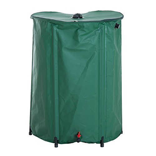 Outsunny 80 Gallon Rainwater Harvesting System Collection Tank with Collapsible Runoff ()