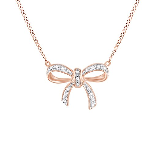 (Jewel Zone US Natural Diamond Accent Rose Gold Over Sterling Silver Bow Pendant Necklace)