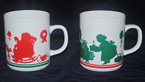 Pair 1984 Avon Santa and Mrs. Claus Christmas Mugs - 10 Ounces